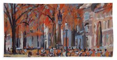 Hand Towel featuring the painting Terrace In The Grand Tanners Street Maastricht by Nop Briex