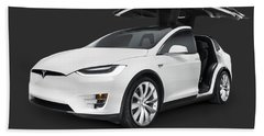 Tesla Model X Luxury Suv Electric Car With Open Falcon-wing Doors Art Photo Print Bath Towel