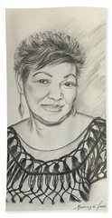 Hand Towel featuring the drawing Tessie Guinto  by Rosencruz  Sumera