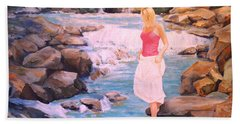 Hand Towel featuring the painting Testing The Water by Alan Lakin