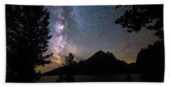Hand Towel featuring the photograph Teton Galaxy Night by James BO Insogna
