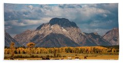Hand Towel featuring the photograph Teton Horse Ranch by Darren White
