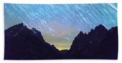 Hand Towel featuring the photograph Teton Star Trails by James BO Insogna