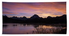 Bath Towel featuring the photograph Teton Sunset by Gary Lengyel