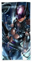 Bath Towel featuring the painting Tetsuya Nomura Catwoman by Pete Tapang