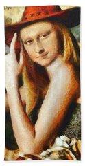 Texan Mona Lisa - Da Hand Towel