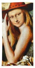 Texan Mona Lisa Hand Towel