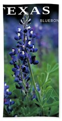 Bath Towel featuring the mixed media Texas Bluebonnet State Flower by Daniel Hagerman