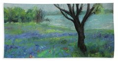 Hand Towel featuring the painting Texas Bluebonnet Trail by Robin Maria Pedrero