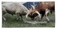 Texas Bull Fight  Bath Towel