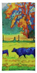 Texas Cow And Calf At Sunset Print Bertram Poole Bath Towel by Thomas Bertram POOLE
