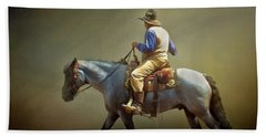 Hand Towel featuring the photograph Texas Cowboy And His Horse by David and Carol Kelly