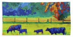 Hand Towel featuring the painting Texas Cows And Calves At Sunset Painting T Bertram Poole by Thomas Bertram POOLE
