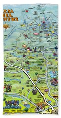 Texas Hill Country Cartoon Map Bath Towel