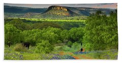 Texas Hill Country Ranch Road Bath Towel by Darryl Dalton