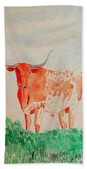 Texas Longhorn Hand Towel by Fred Jinkins