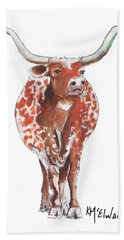 Texas Longhorn Taking The Lead Watercolor Painting By Kmcelwaine Bath Towel