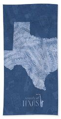 Texas Map Music Notes 5 Hand Towel