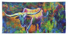 Bath Towel featuring the painting Texas Pride by Karen Kennedy Chatham