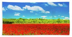 Texas Red Poppies Bath Towel