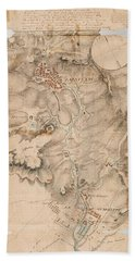 Texas Revolution Santa Anna 1835 Map For The Battle Of San Jacinto  Bath Towel