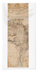Texas Revolution Santa Anna 1835 Map For The Battle Of San Jacinto With Border Bath Towel