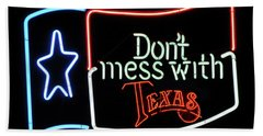 Bath Towel featuring the photograph Texas Flag Saloon Neon by Daniel Hagerman