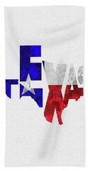 Texas Typographic Map Flag Bath Towel