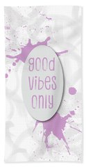 Text Art Good Vibes Only - Rose Hand Towel