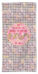 Text Art She Believed - Grey/rose Hand Towel
