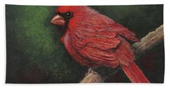 Hand Towel featuring the painting Textured Cardinal by Janet King