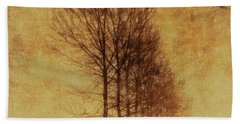Hand Towel featuring the mixed media Textured Eerie Trees by Dan Sproul