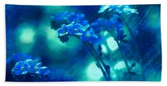 Hand Towel featuring the digital art Textured Forget Me Nots by Fine Art By Andrew David