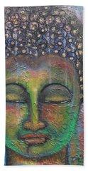 Bath Towel featuring the painting Textured Green Buddha by Prerna Poojara