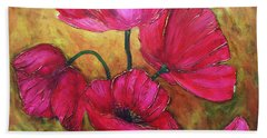 Hand Towel featuring the painting Textured Poppies by Chris Hobel