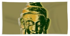 Hand Towel featuring the digital art Thai Buddha #4 Pop Art Warhol Style Print.  by Jean luc Comperat