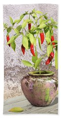 Thai Chili Plant In Pot Hand Towel