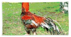 Bath Towel featuring the mixed media Thai Fighting Rooster by Charles Shoup