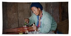 Bath Towel featuring the photograph Thai Weaving Tradition by Heiko Koehrer-Wagner