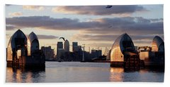 Thames Barrier And Seagulls Bath Towel