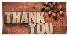 Than You Typography In Wood Type Bath Towel