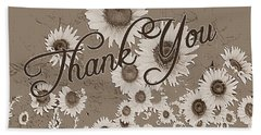 Thank You Card Daisies Hand Towel