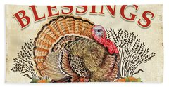 Hand Towel featuring the painting Thanksgiving-e by Jean Plout