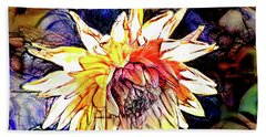 Hand Towel featuring the digital art The Abstracted Dahlia  by Steve Taylor