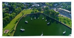 The Aerial View Of The Marina Of Mamaroneck Hand Towel