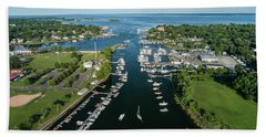 The Aerial View To The Mamaroneck Marina, Westchester County Hand Towel