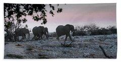 Bath Towel featuring the digital art The African Elephants by Ernie Echols