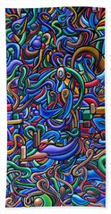 Colorful Abstract Art Abstract Painting Colorful Chromatic Acrylic Painting Bath Towel