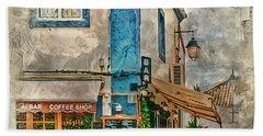 The Albar Coffee Shop In Alvor. Hand Towel by Brian Tarr