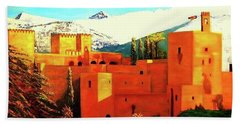 The Alhambra Of Granada Bath Towel by Manuel Sanchez